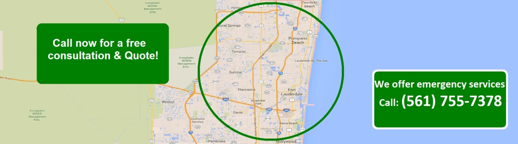 This is a map of broward county and other areas Green Palm Pest Control Services